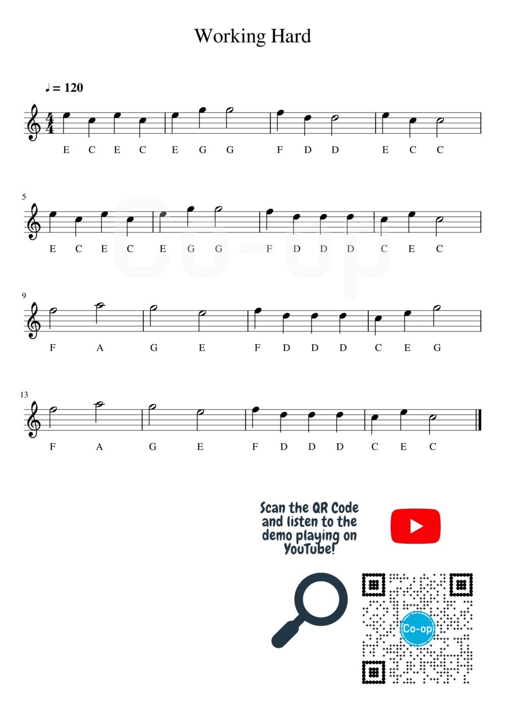 Working Hard | Solfege Notation | Free Sheet Music