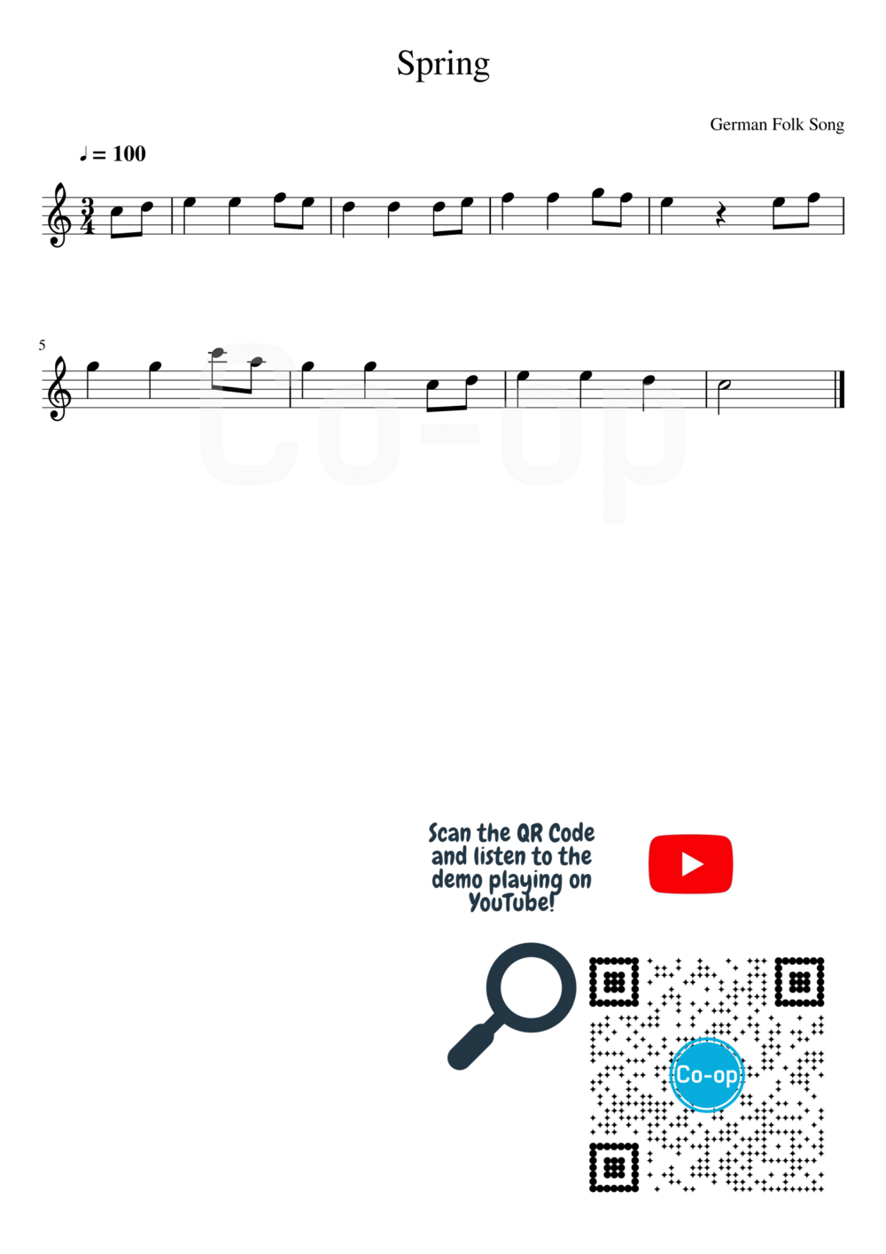 Spring | Staff Notation | Free Sheet Music
