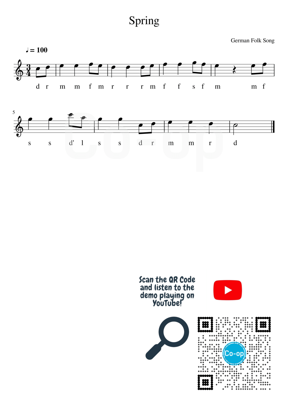 Spring | Solfege Notation | Free Sheet Music