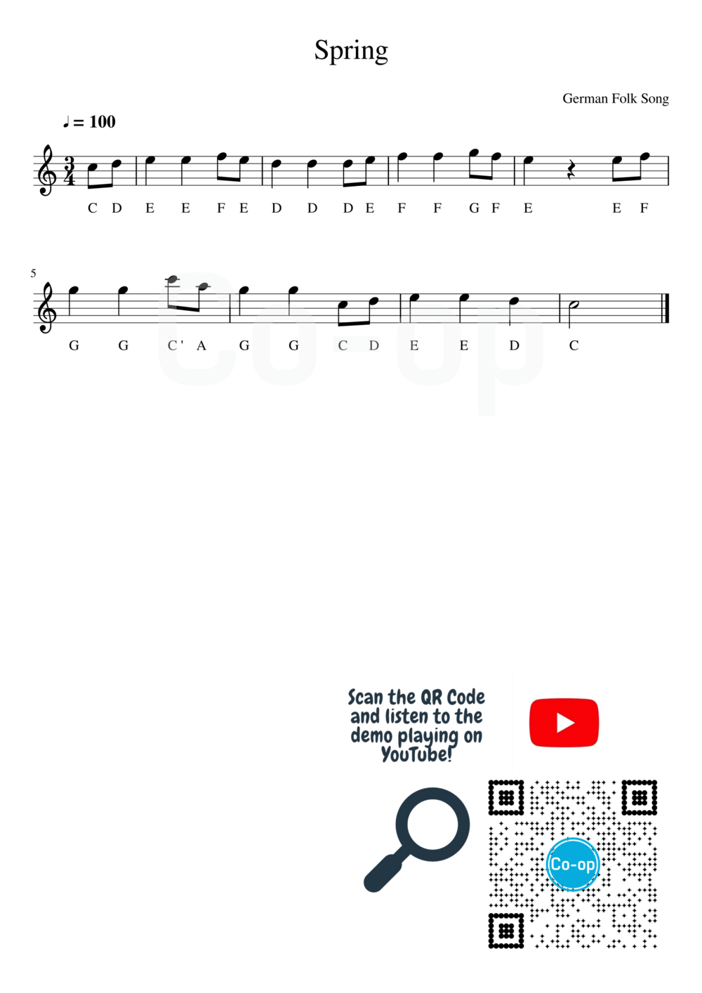 Spring | Letter Notation | Free Sheet Music