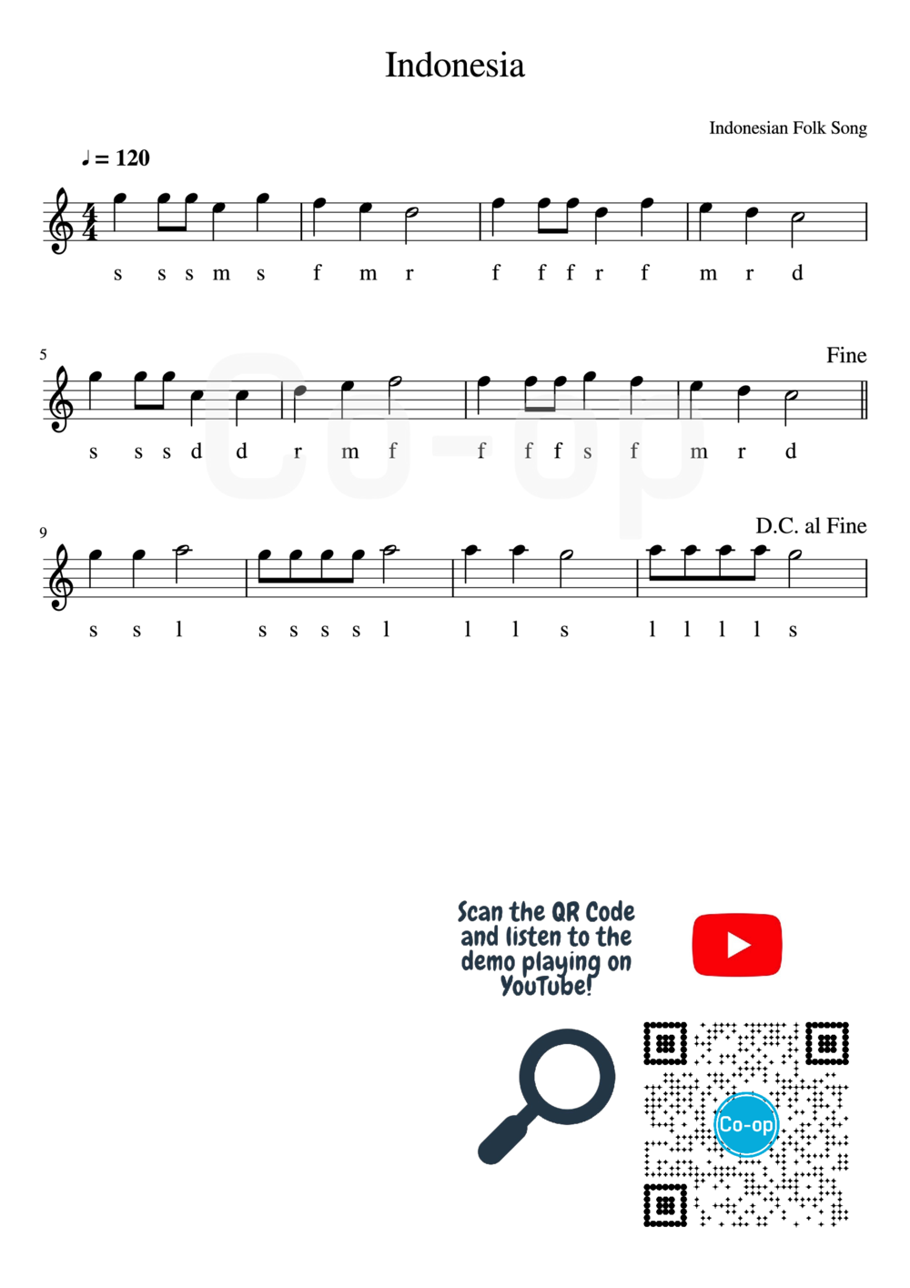 Indonesia | Solfege Notation | Free Sheet Music