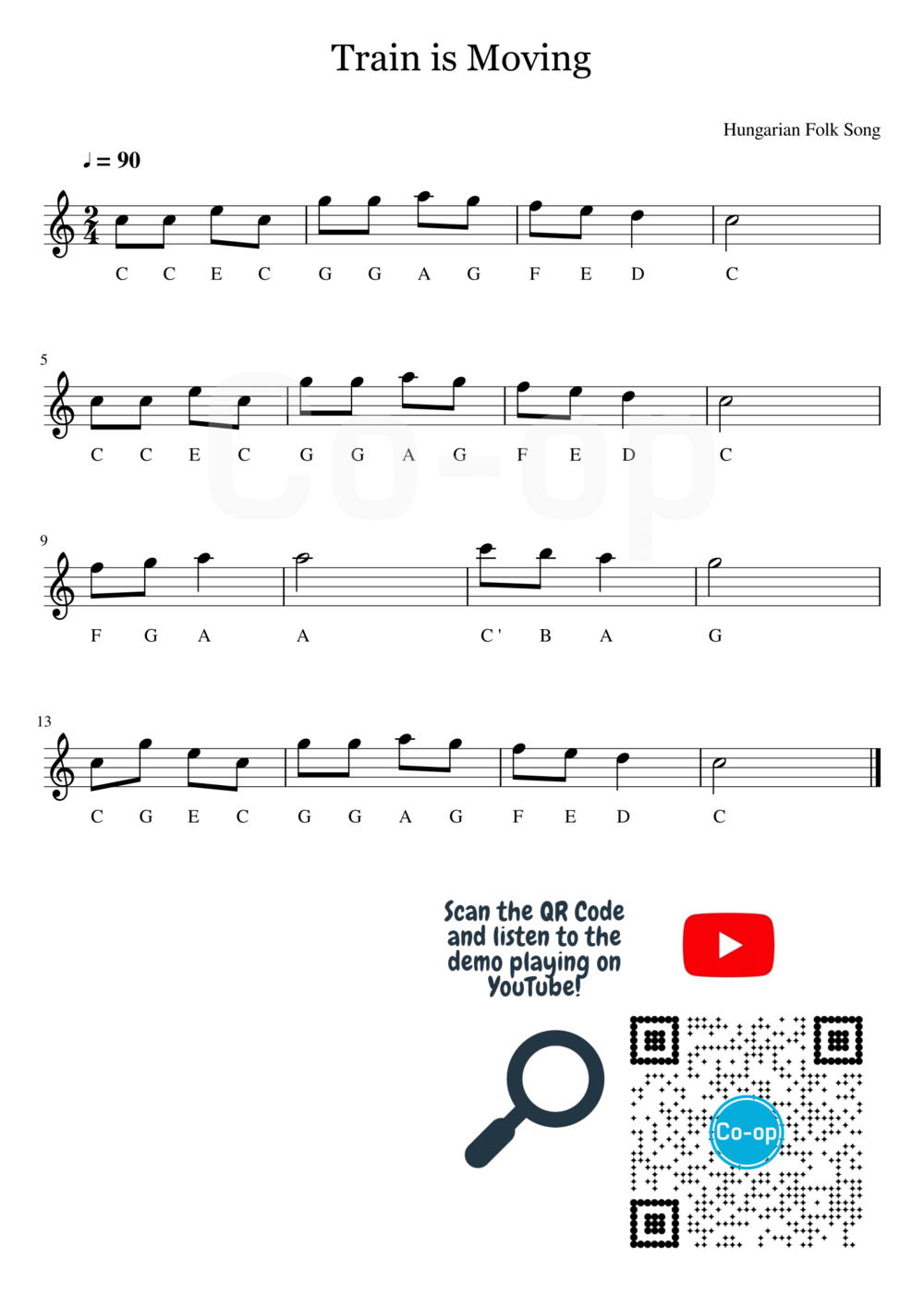 Train is Moving | Letter Notation | Free Sheet Music