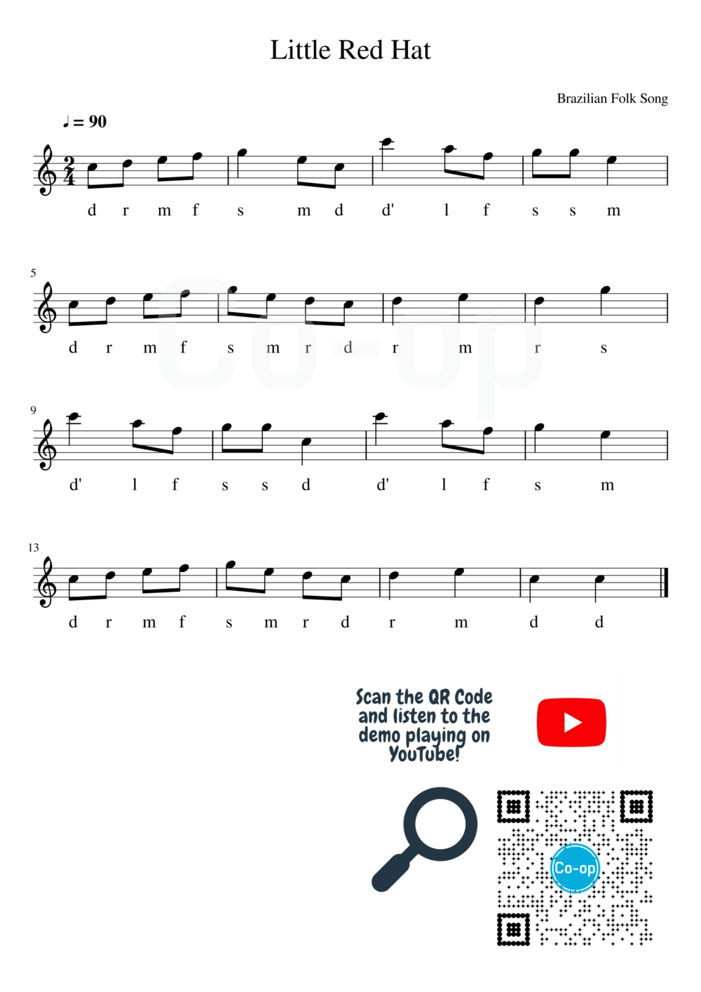 Little Red Hat | Solfege Notation | Free Sheet Music