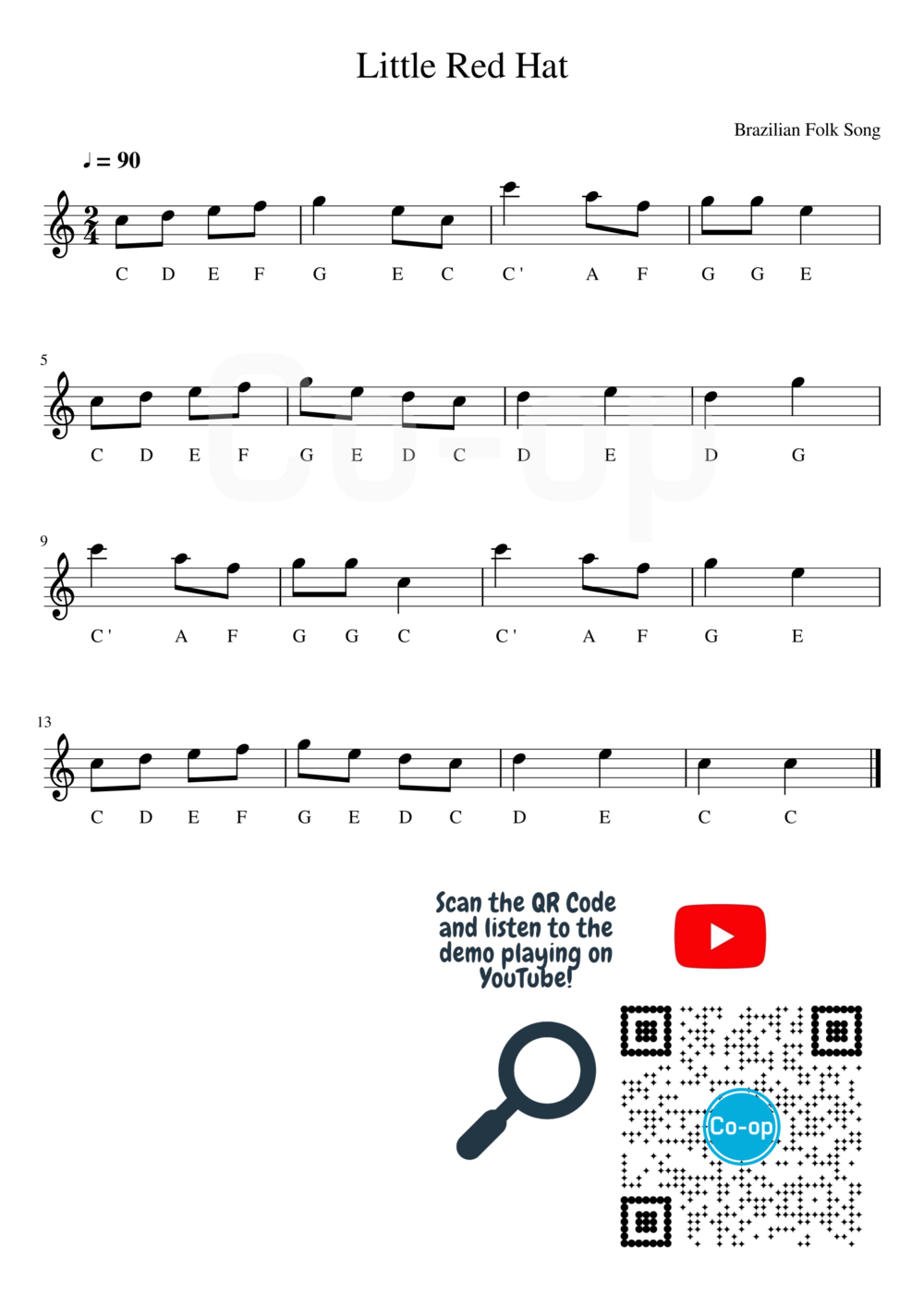 Little Red Hat  | Letter Notation | Free Sheet Music