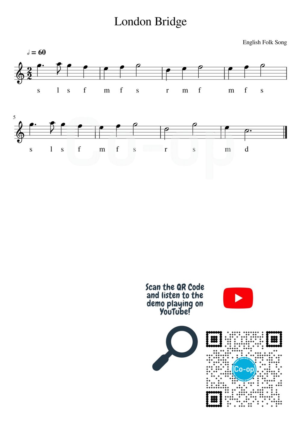 London Bridge | Solfege Notation | Free Sheet Music