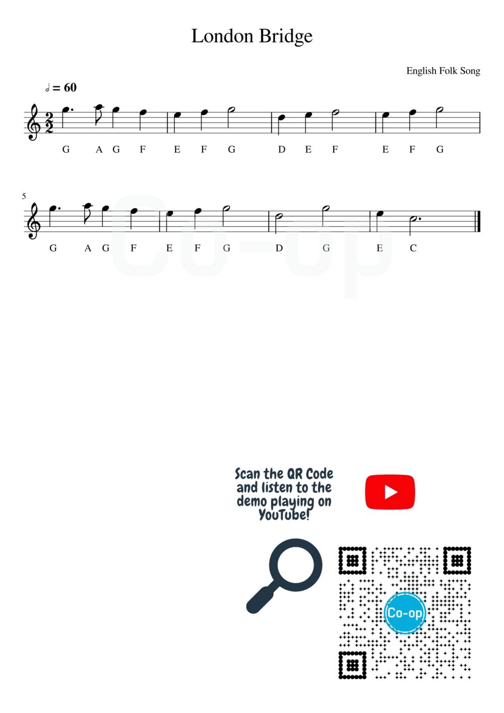 London Bridge   Letter Notation   Free Sheet Music