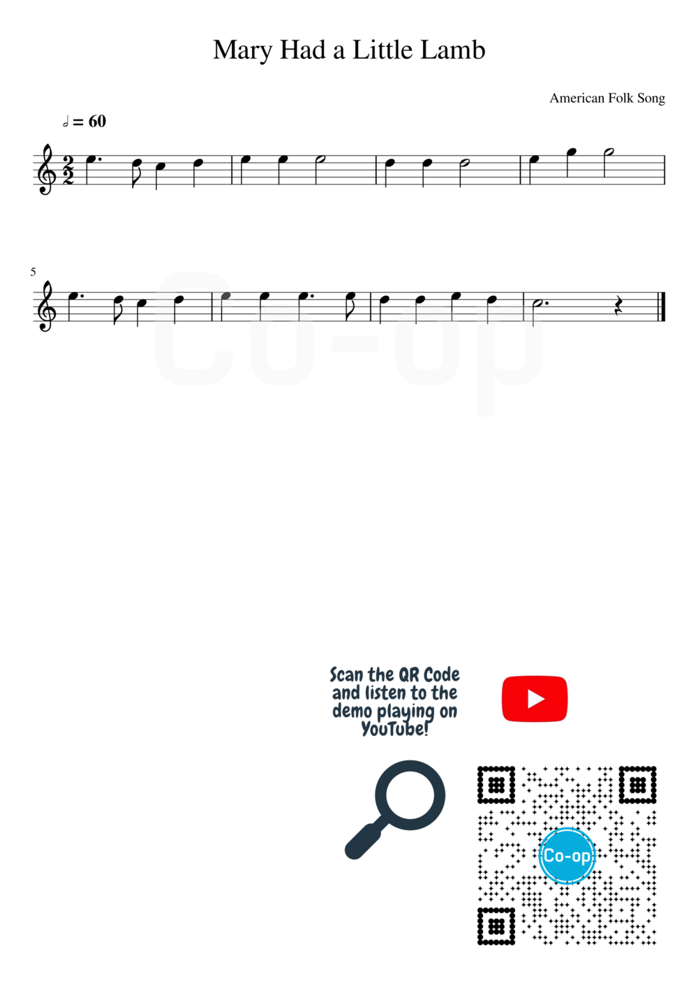 Mary Had a Little Lamb | Staff Notation | Free Sheet Music