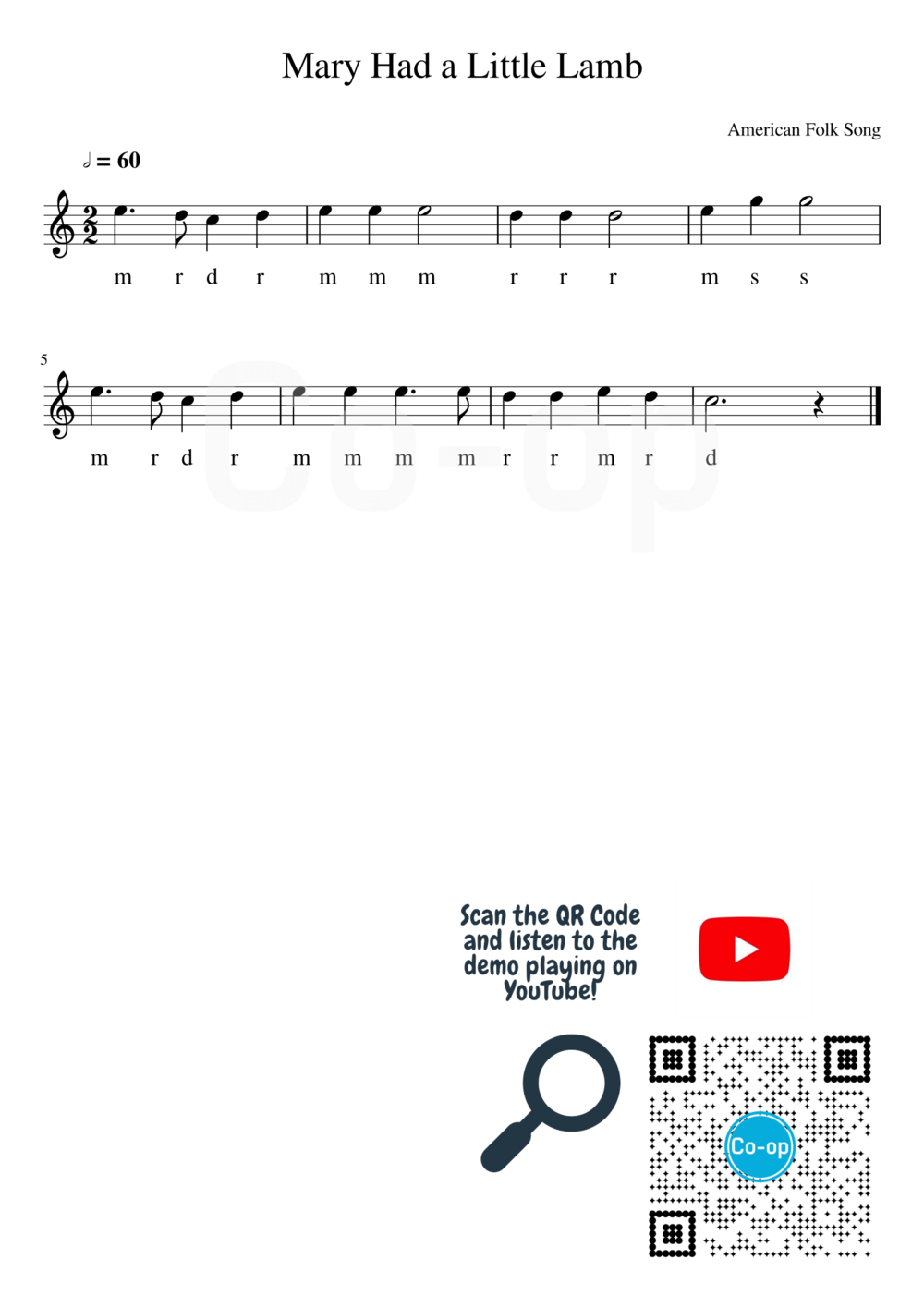 Mary Had a Little Lamb | Solfege Notation | Free Sheet Music