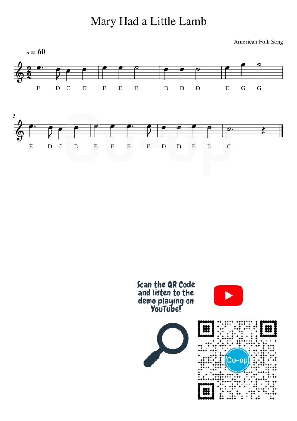 Mary Had a Little Lamb | Letter Notation | Free Sheet Music