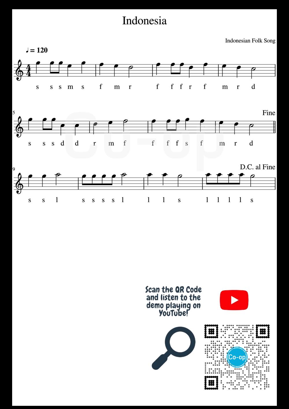 Indonesia | 五線譜連唱名 | Co-op 口琴學堂