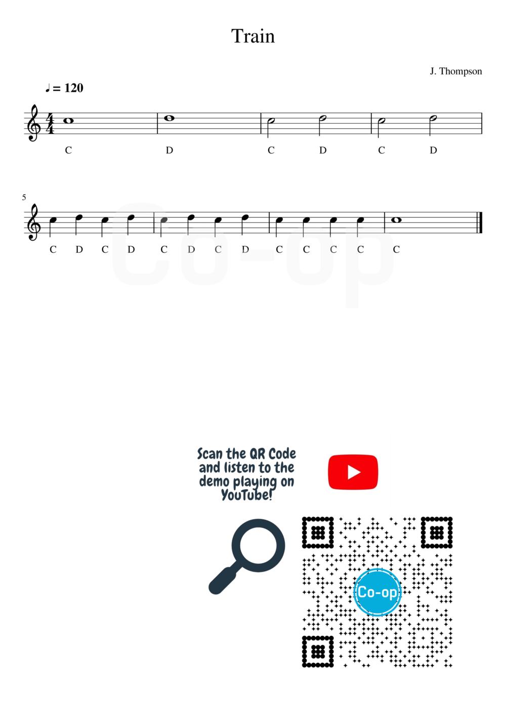 Train | 五線譜連音名 | Co-op 口琴學堂