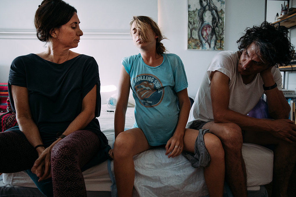 Image of Monica Wood (LA MIDWIFE COLLECTIVE) , Elizabeth Flynn and her Partner in labor by Rebecca Coursey