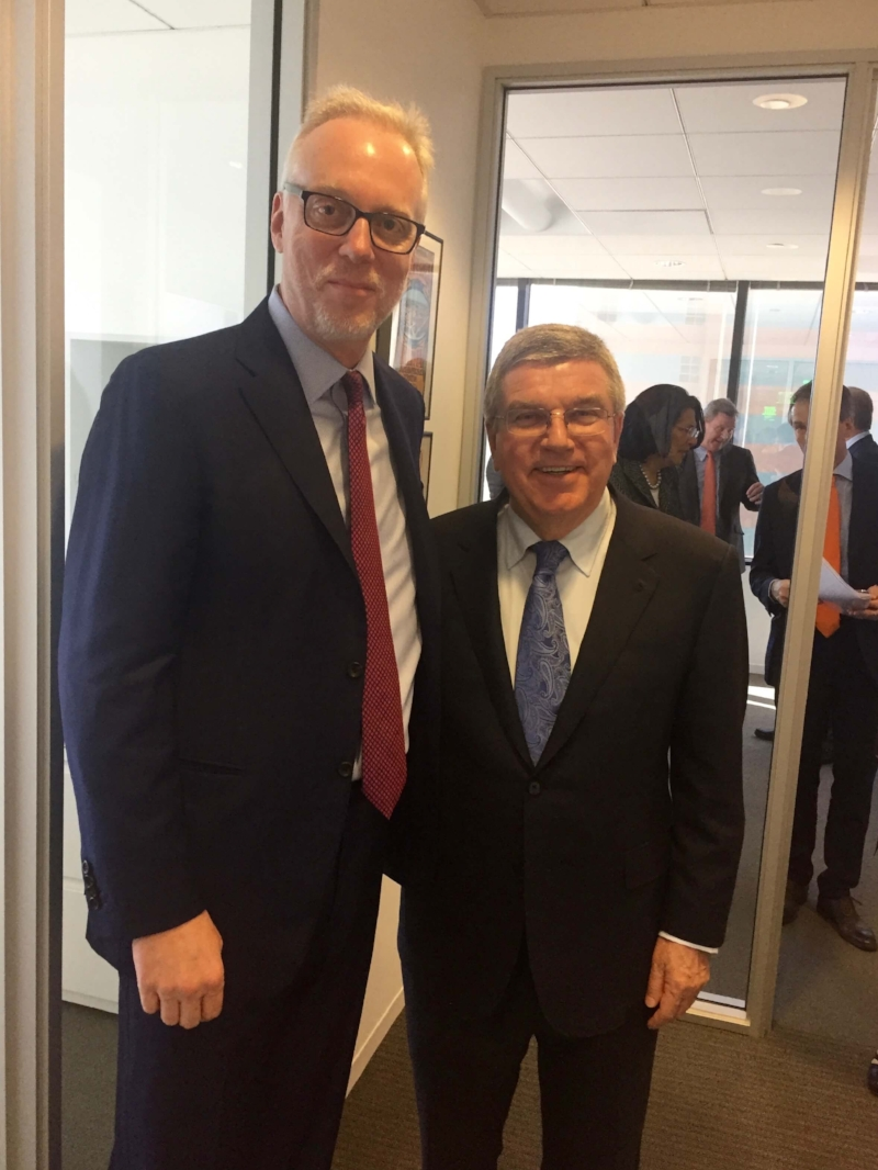 Terrence Burns, IOC President Thomas Bach