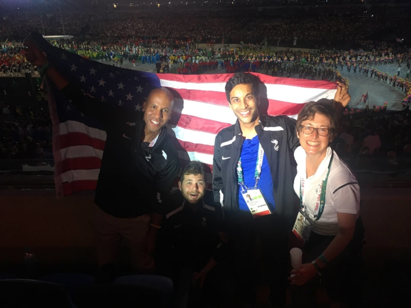 Brian Nelson, Jared Schott (standing in a hole), Manav Kumar and Brence Culp - Rio 2016 Opening Ceremony