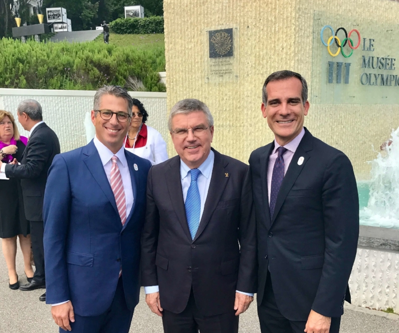 Casey Wasserman, President Thomas Bach, Mayor Eric Garcetti - Olympic Museum Lausanne