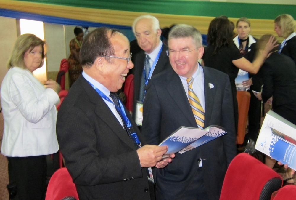 Korean NOC (then) President Y. S. Park and IOC Member Thomas Bach, Togo, June 2011