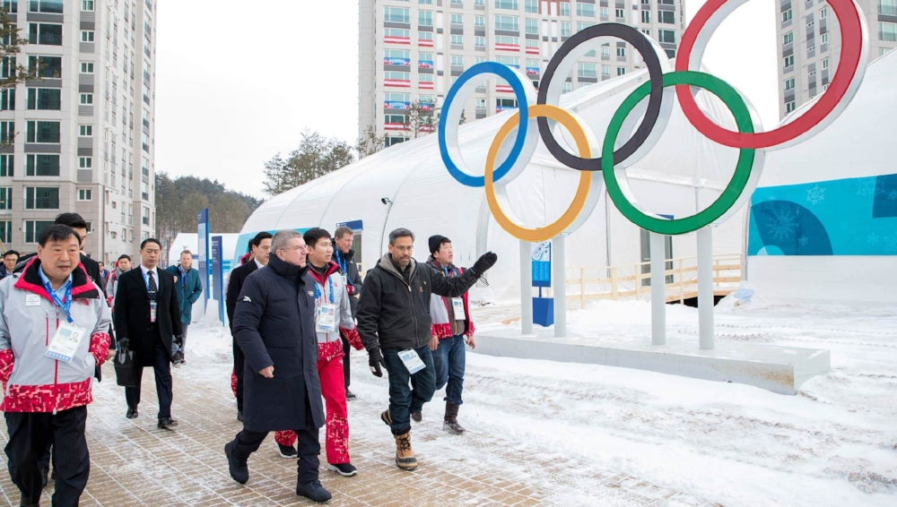 IOC President Bach inspecting PyeongChang 2018 Olympic Village - Olympic.org