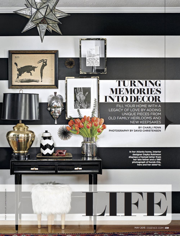Dayka Robinson, Essence Magazine May 2015, Memories Into Decor.jpg