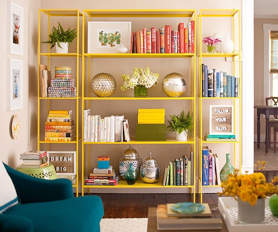 colored books, styled bookshelf, dayka robinson designs via chicandglamourous.com