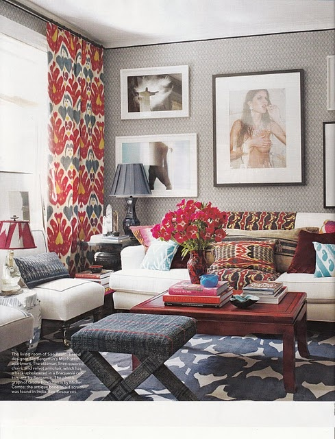 ikat drapery, dayka robinson designs, via elledecor.com