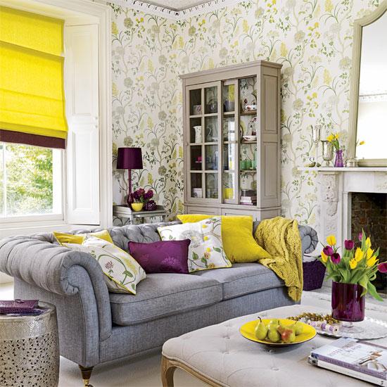 Complementary colors, purple-yellow-living-room, Dayka Robinson Designs via dexona.com