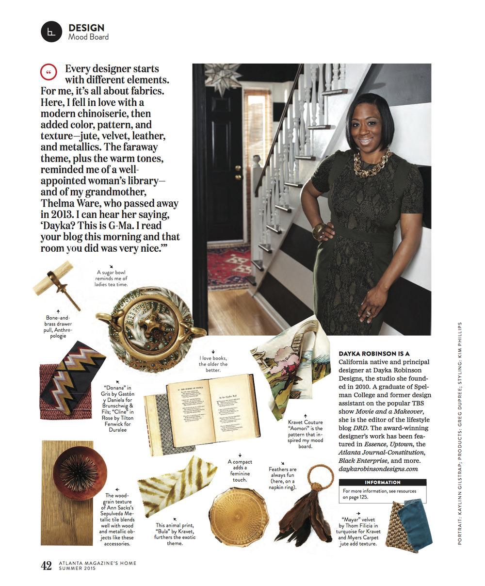Dayka Robinson, Atlanta Magazine Home SUMMER 2015-2