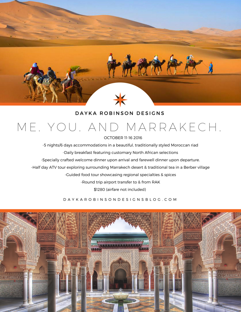 Dayka Robinson Designs Join Me in Morocco October 2016