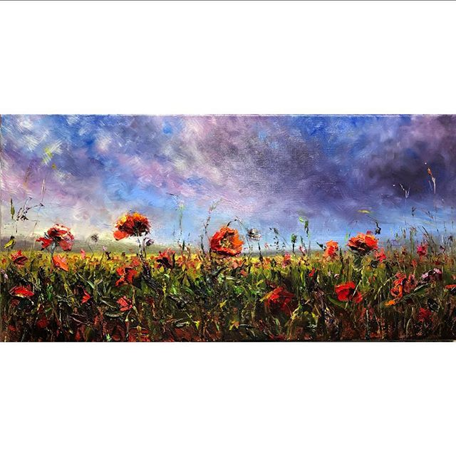 "What should I call this piece?  Oil on linen 12""x24"" • • • #landscape #landscapeart #poppies #poppyfield #sky_brilliance #oilpainting #oils #artistsoninstagram #australianartists #artoninsta #textureart #contemporaryart #artlovers #artofinstagram #artgallery #artcollectors #artforsale #mussini #dreamart"
