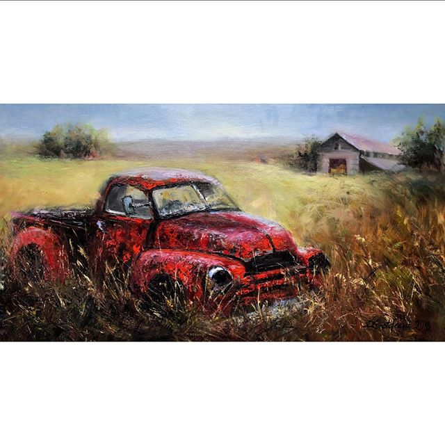 """Diamond in the rough"" 18""x36"" oil on Belgium linen • • • #classicchevy #landscapeart #carart #chevytrucks #artworkoftheday #rustbucket #classictruck #oilpainting #oils #countrylife #south #louisiana #australianartist #lafayette #contemporaryart #mussini #rosemaryandco #rembrandtoils #instaart"