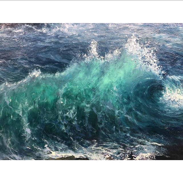 Sneak peek of the current work in progress. Detail. • • • #workinprogress #seascape #seascapepainting #crushingwaves #oceanbeach #beachview #oilpainting #contemporaryart #instaart #artgallerynyc #artwork_daily #artworkinprogress #instapic #landscape #oiloncanvas #oiloncanvaspainting #dailyinspiration #summerdays☀️ #rembrandtoilpaint