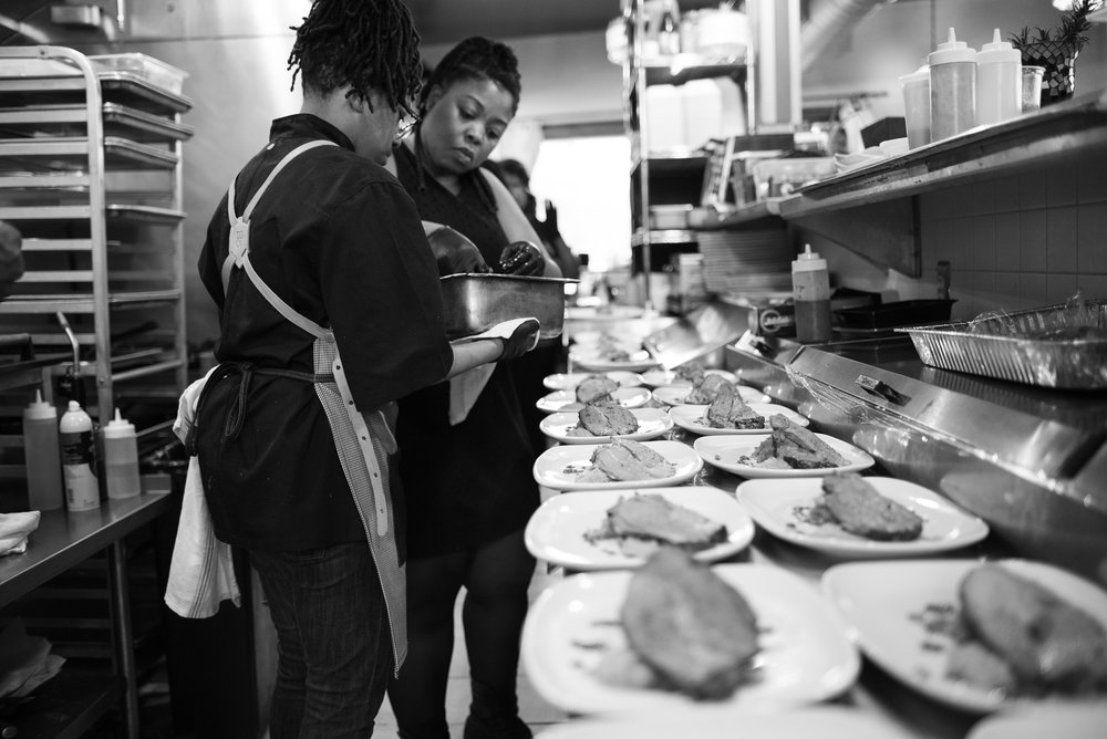 Le'Genevieve Squires (left) of Relish Catering, and Viana Rickett (right) of Simple Goodness.
