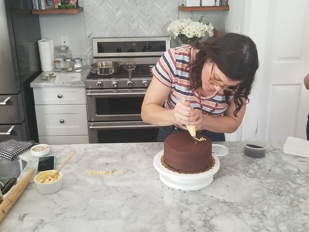 Decorating cake.