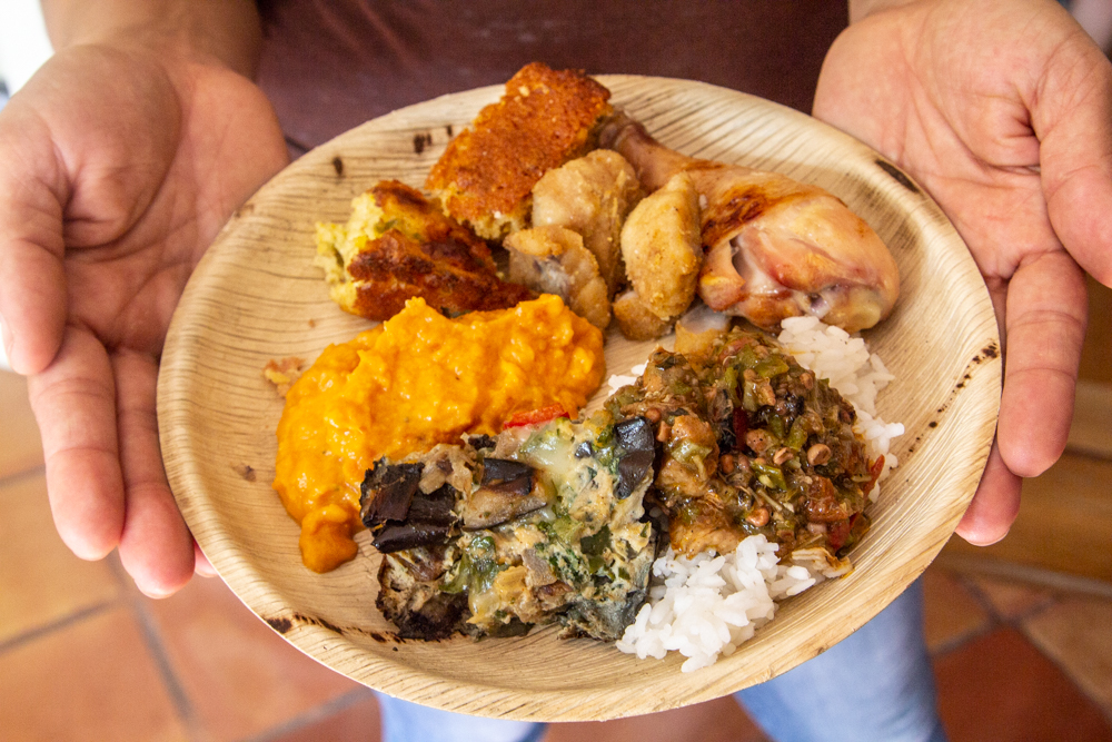 Homestyle baked chicken, eggplant & pepper frittata, fried okra stew & white rice, whipped sweet potatoes, corn muffins  -  HBB Oakland Harvest October 20, 2018.