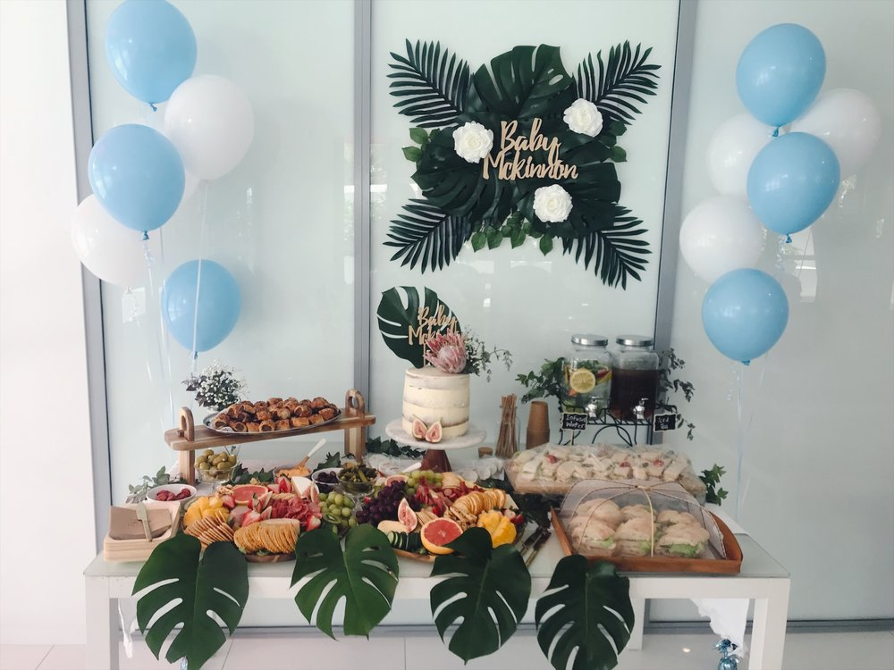 Baby Shower Vibes - We can set up an amazing table arrangement to suit your theme to make your baby shower special.Includes greenery and flowers, balloons, 2 x round platters, double jug dispenser filled with infused water and iced tea, cups, straws, cutlery, plates, napkins, hire of cake stand.Additional items can be added at an extra costFrom $450 *Gold Coast only