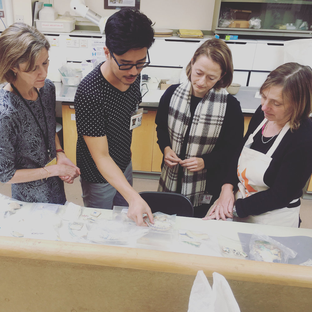 Discussion with ceramic conservators at the Victoria & Albert Museum, London, 2017. Photo: Joshua Lue Chee Kong