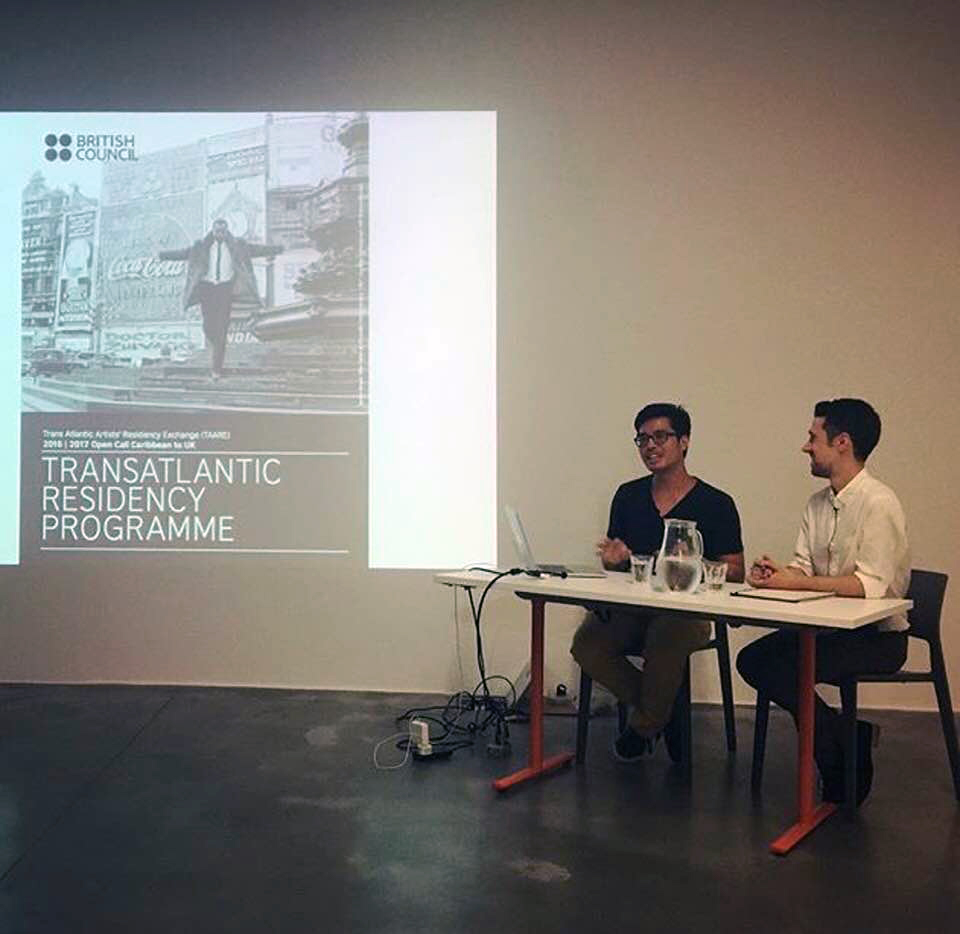 With curator  Nick Osborne  at t he Artist as Historian, Archaeologist and Archivist , Autograph BHP, London,2017. Photo: Hena Lee