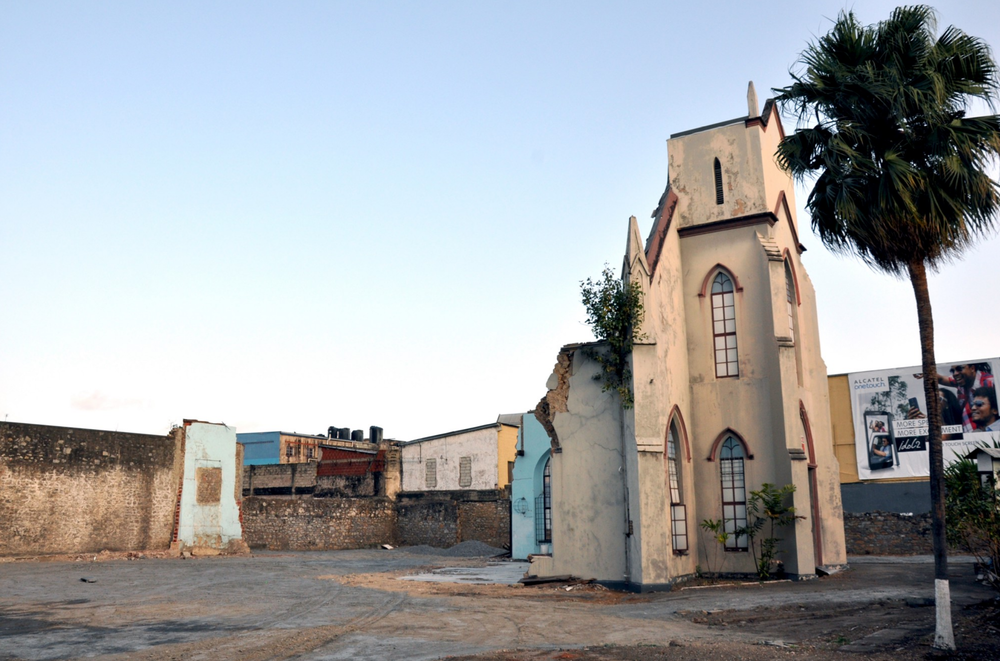 The church partially demolished in 2014