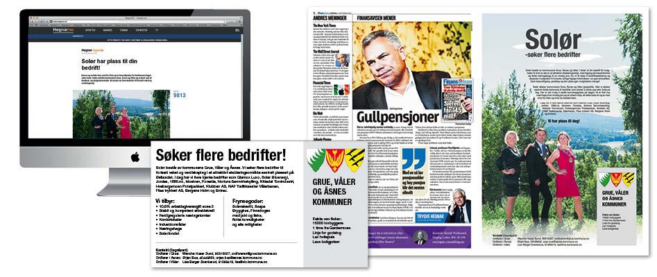 Eksempler på annonsene som ble kjørt på nett, i avis og magasin.