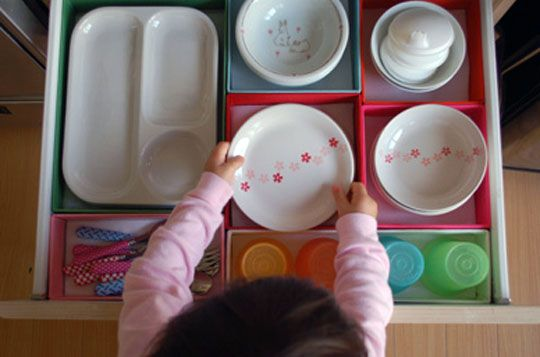 Child height kitchen drawers