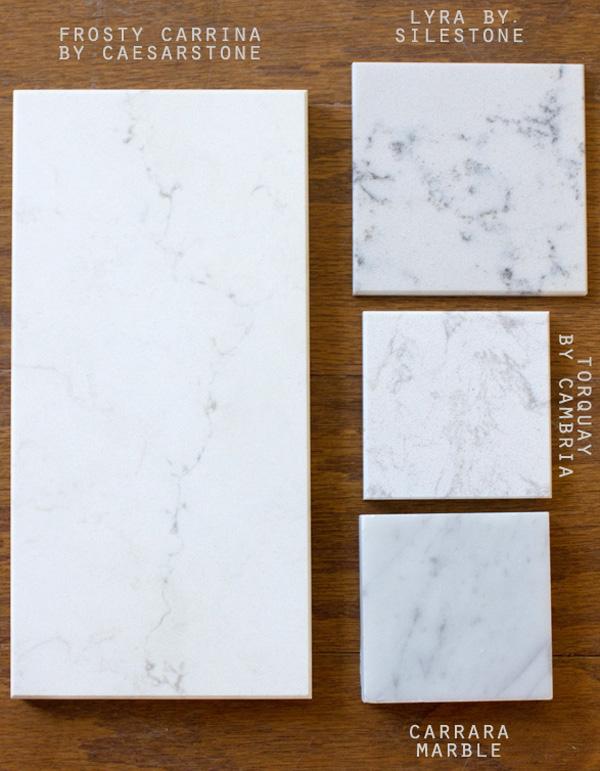 Caesarstone, Silestone,Cambria, and Carrara Marble examples