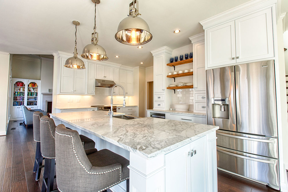 Transitional Kitchen Remodel with Marble and Chrome