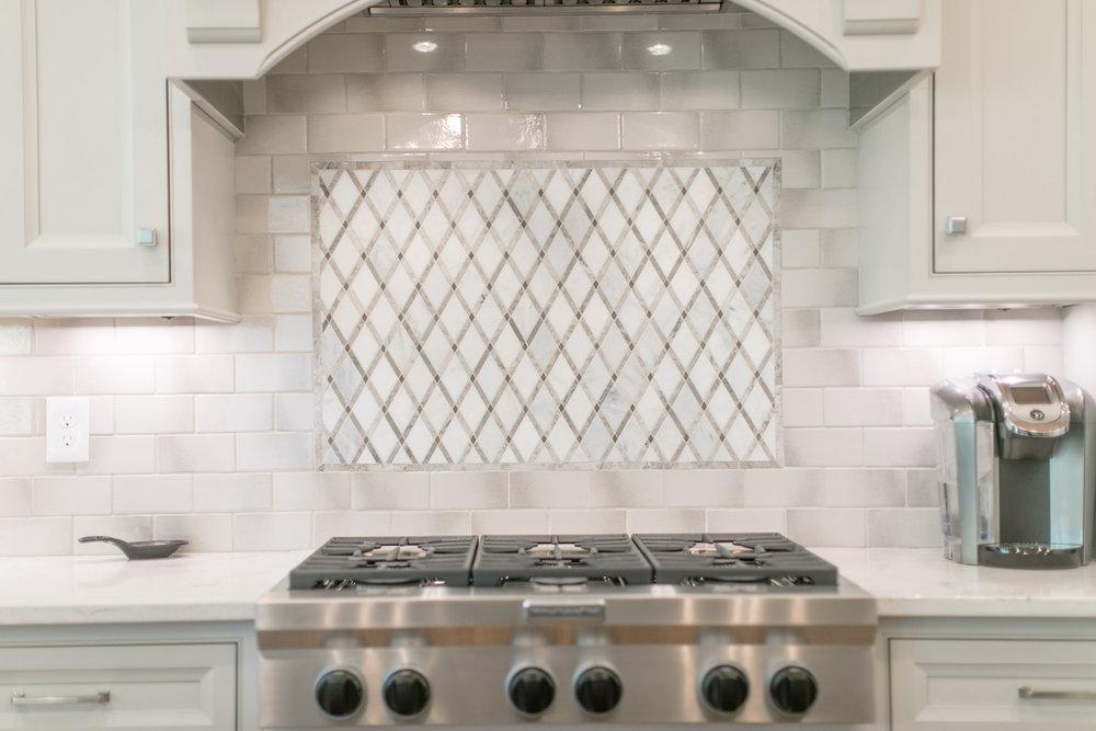Subway tile and diamond shaped backsplash