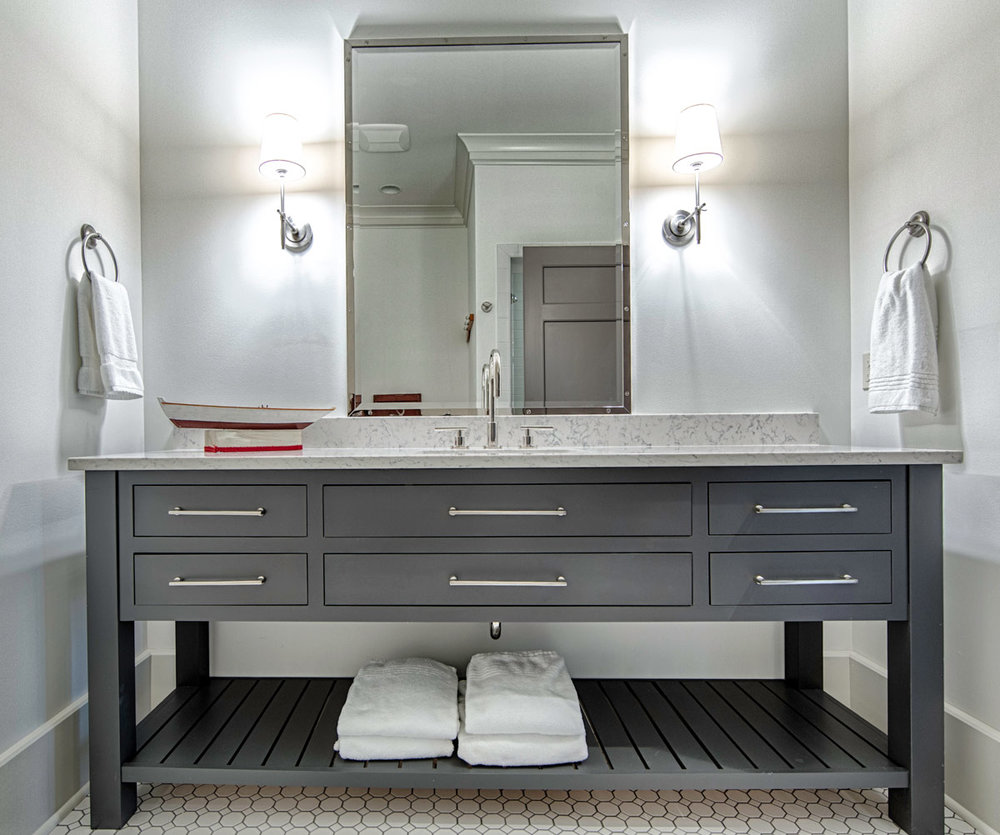 Oversized gray painted bath vanity