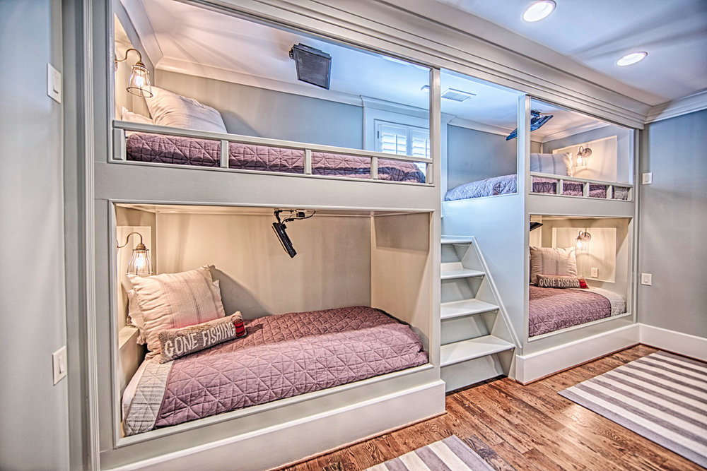 A set of four bunk beds is an example of what smart home design can be.
