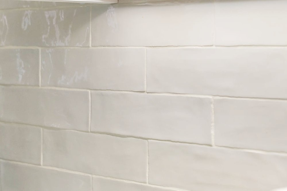 "Handmade white 3"" x 12"" subway tiles by Speartek Tile & Stone."