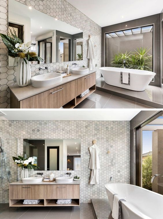 Gray Hexagon Bathroom
