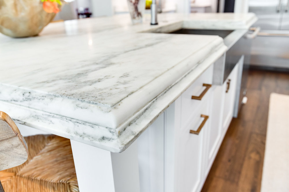 Montclair Danby Margaux marble countertops have