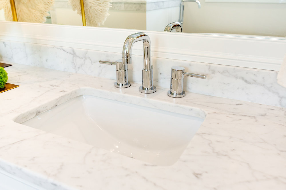 Fergusson provided all of the plumbing fixtures. This faucet is from their Mirabelle collection.