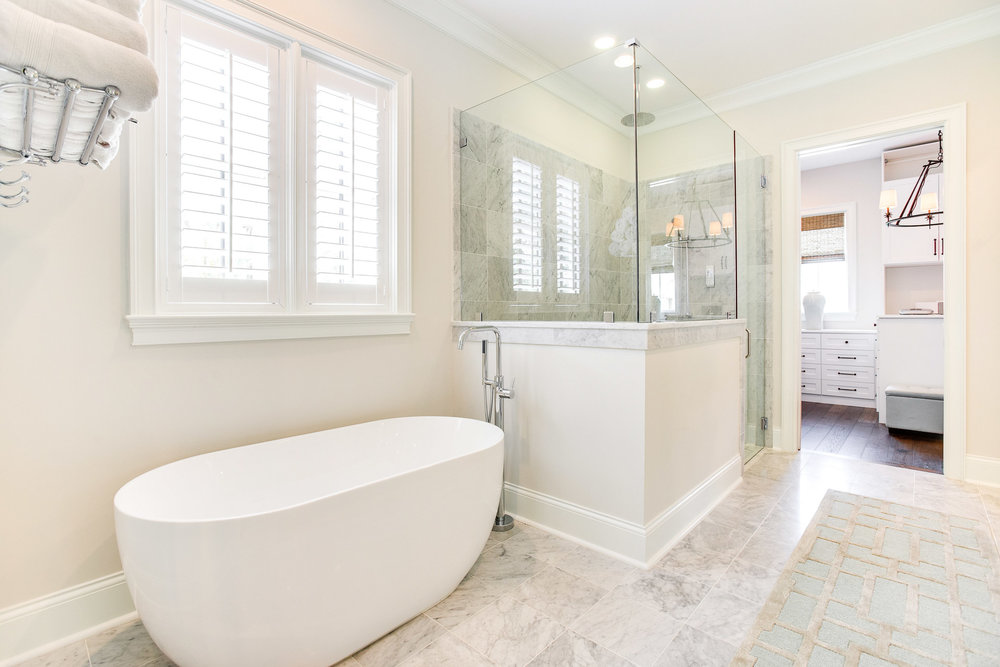 An Oceania soaking tub with Fergusson Mirabelle tub filler.
