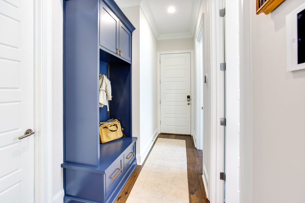 Hallway with custom storage.